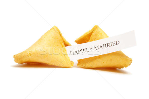 Fortune cookie matrimonio screpolato open felicemente Foto d'archivio © AlphaBaby