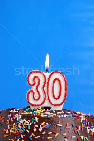 Vieren dertig jaren aantal kaars viering Stockfoto © AlphaBaby