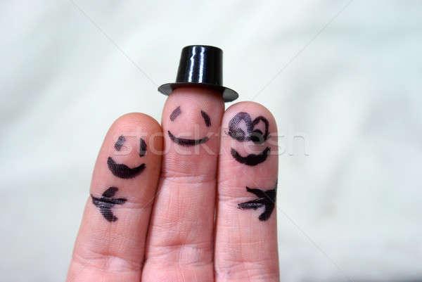 группа обнять пальца лице любви Сток-фото © AlphaBaby