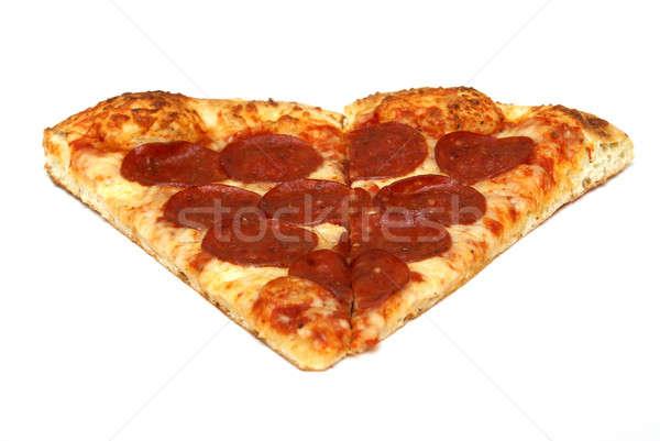 Pizza slice plakje peperoni pizza witte voedsel Stockfoto © AlphaBaby