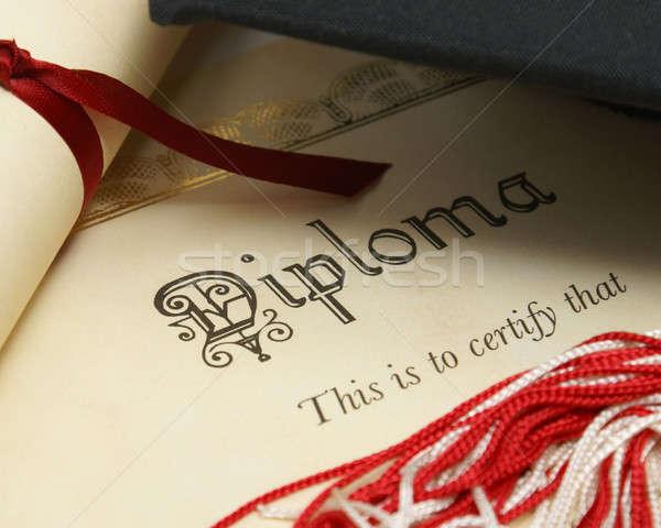 Diákok siker diploma kalap magas fekete Stock fotó © AlphaBaby