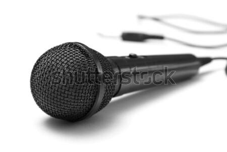 Mikrofon makro shot biały technologii komunikacji Zdjęcia stock © AlphaBaby
