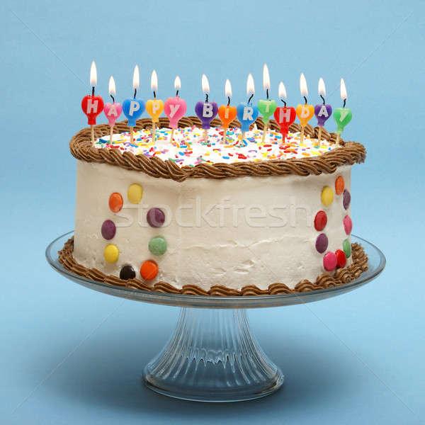 Joyeux anniversaire gâteau bougies lire fête heureux Photo stock © AlphaBaby