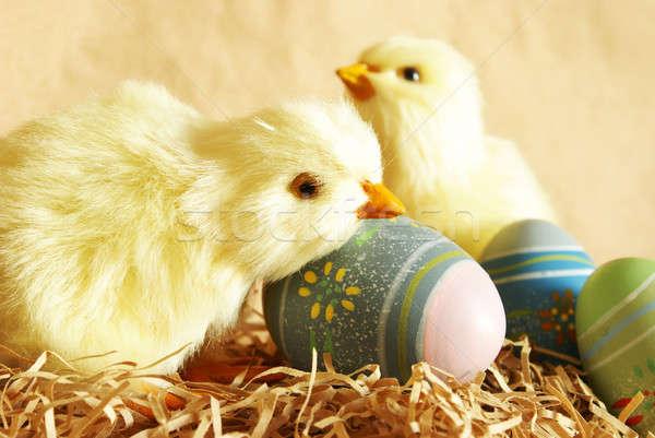 Pascua pollitos huevos primer plano tiro huevos de Pascua Foto stock © AlphaBaby
