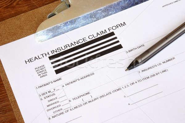 Foto stock: Seguro · de · salud · reclamar · forma · primer · plano · negocios · dinero