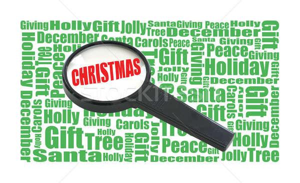 Foto d'archivio: Natale · ricerca · lente · di · ingrandimento · parola · parole
