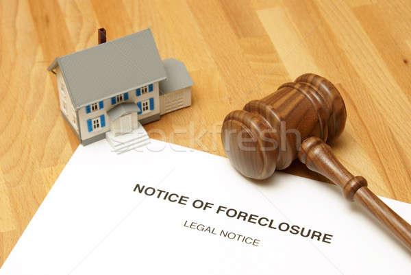 Zálogjog érvényesítése figyelmeztetés szerencsétlen otthon tulajdonos üzlet Stock fotó © AlphaBaby