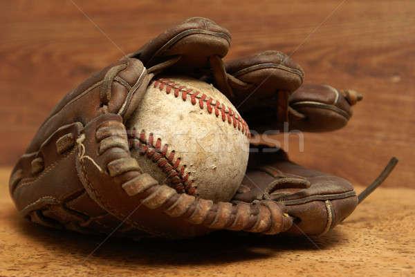 Stock fotó: Klasszikus · kesztyű · baseball · öreg · bent · kút