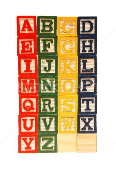 Alfabet na zewnątrz drewna szkoły list czerwony Zdjęcia stock © AlphaBaby