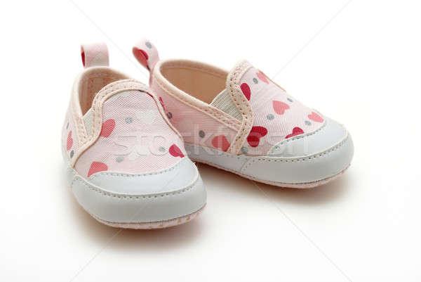 Kislány cipők pár lánycsecsemők fehér baba Stock fotó © AlphaBaby