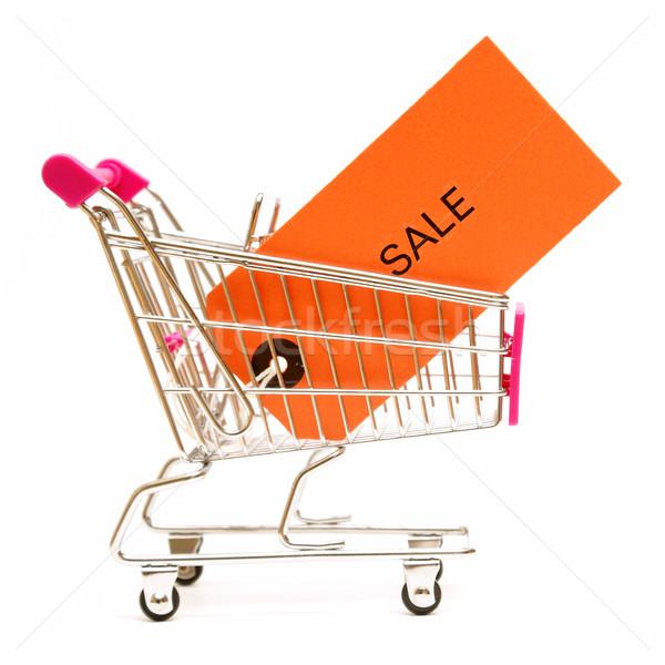 Vásárlás vásár izolált lövés bevásárlókocsi címke Stock fotó © AlphaBaby