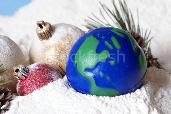 Stockfoto: Christmas · wereldbol · aarde · heldere · vrolijk · scène