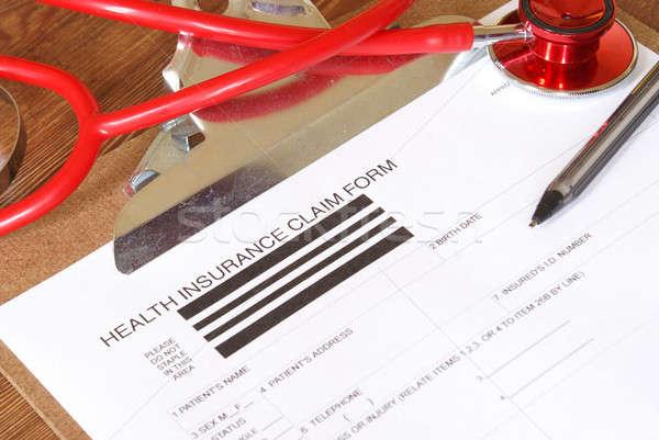 Zorgverzekering beweren vorm papier arts Stockfoto © AlphaBaby