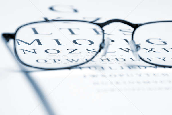 Vision correction oeil graphique paire verres Photo stock © AlphaBaby
