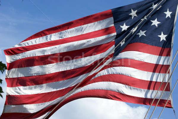 Amerikai zászló fúj szellő hajó dokk égbolt Stock fotó © AlphaBaby