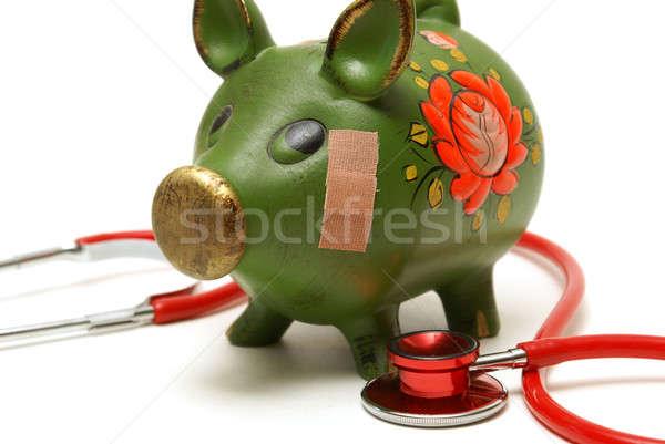 Niezdrowy banku konto wieprzowych bandaż pomoc Zdjęcia stock © AlphaBaby