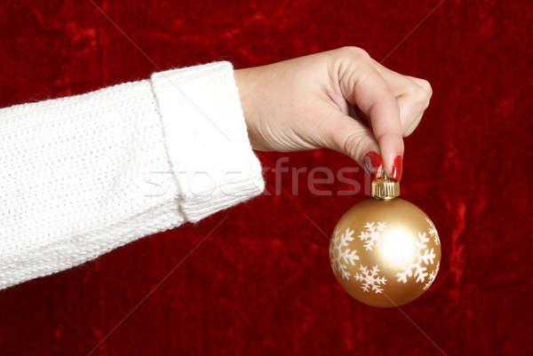 Christmas vrouw gouden snuisterij meisje Stockfoto © AlphaBaby