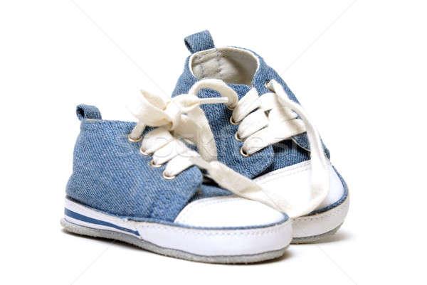 Photo stock: Denim · paire · tout-petits · pieds · bébé