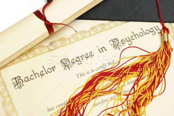 Kawaler psychologia dyplom hat wysoki student Zdjęcia stock © AlphaBaby