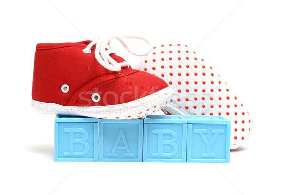 Baby woord geïsoleerd witte paar Rood Stockfoto © AlphaBaby