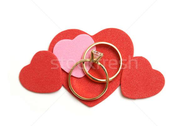 Szeretet házasság szett jegygyűrűk dekoratív szív Stock fotó © AlphaBaby