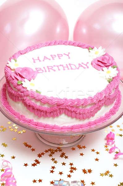 Verjaardagstaart vrouwelijke bloem voedsel gelukkig Stockfoto © AlphaBaby