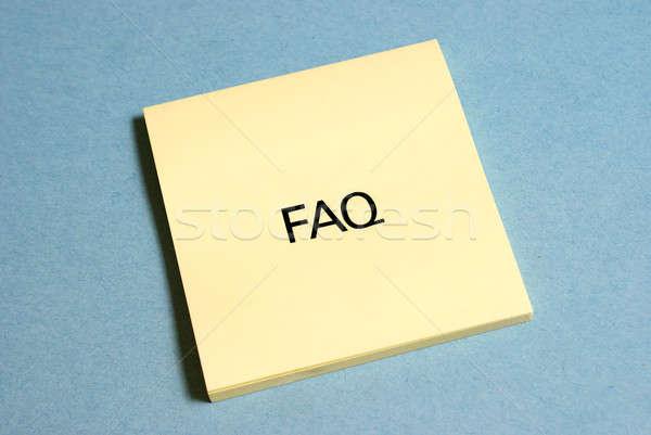 Freqüentemente perguntas faq amarelo trabalhar projeto Foto stock © AlphaBaby