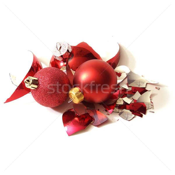 Törött karácsony csecsebecse piros ünnep sok Stock fotó © AlphaBaby