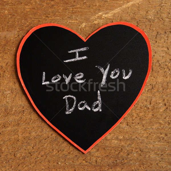 Liefde vader kinderachtig krijt harten Stockfoto © AlphaBaby