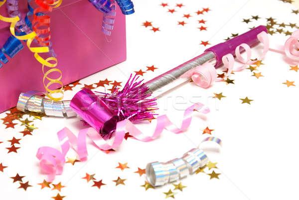 Ruído rosa confete branco festa feliz Foto stock © AlphaBaby