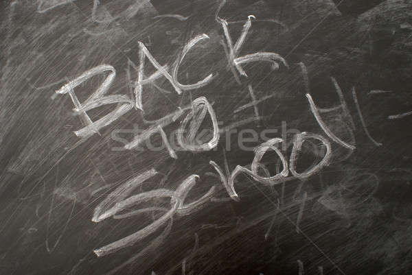 Vissza az iskolába írott tábla háttér hát főiskola Stock fotó © AlphaBaby