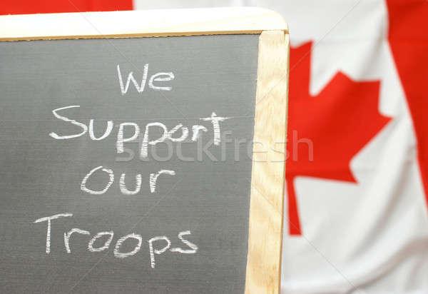 Ondersteuning troepen handgemaakt teken achtergrond frame Stockfoto © AlphaBaby