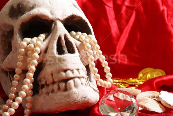 頭蓋骨 宝 死 シルク ストックフォト © AlphaBaby