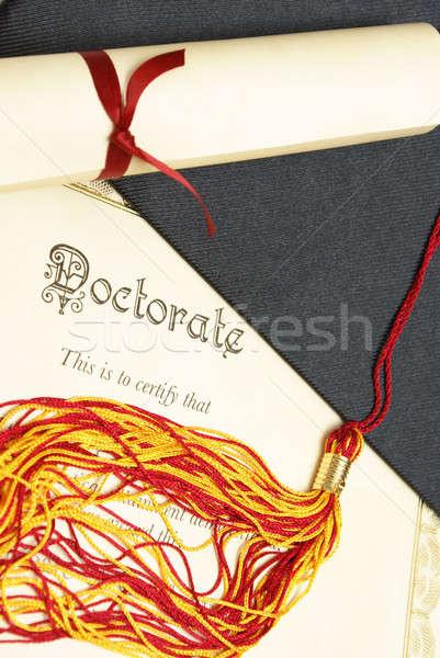 Doktorátus közelkép lövés diploma tekercs iskola Stock fotó © AlphaBaby