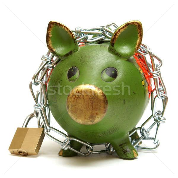 Védelmez pénz lövés izolált persely lánc Stock fotó © AlphaBaby