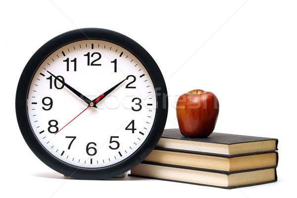 ストックフォト: 時間 · 学習 · 学校 · クロック · リンゴ