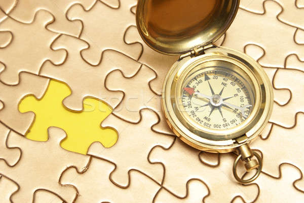 Golden Compass and Puzzle Concept Stock photo © AlphaBaby