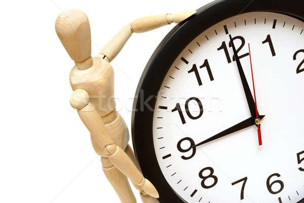 Időbeosztás próbababa óra fehér üzlet háttér Stock fotó © AlphaBaby