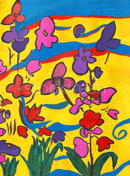 Surreale giardino mano verniciato immagine fiori Foto d'archivio © AlphaBaby
