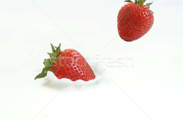 Strawberries Falling in Milk Stock photo © AlphaBaby