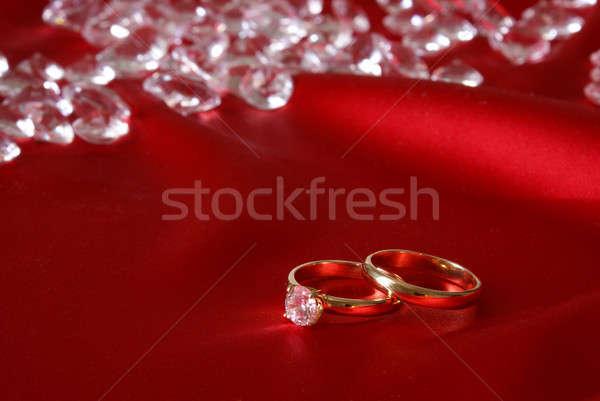 ストックフォト: エンゲージメント · リング · カップル · 金 · 緩い · ダイヤモンド