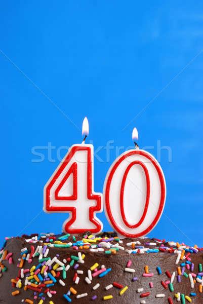Czterdzieści rok numer Świeca uroczystości Zdjęcia stock © AlphaBaby