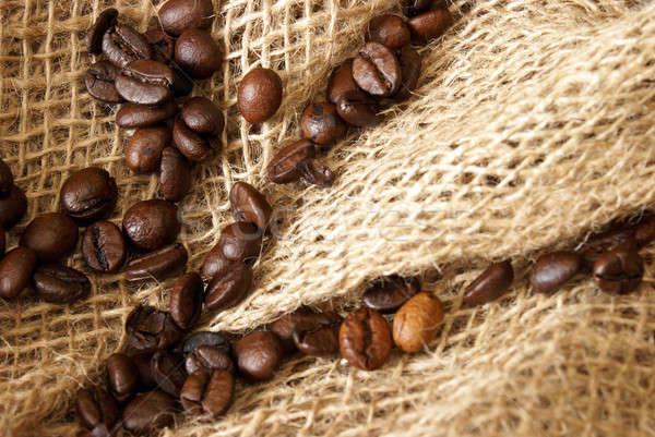 Kávé közelkép friss zsákvászon szövet reggel Stock fotó © AlphaBaby