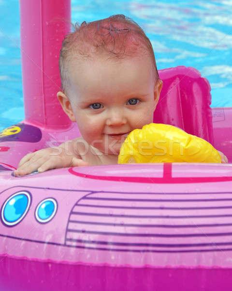 élvezi nyár boldog egyéves lány nyáridő Stock fotó © AlphaBaby
