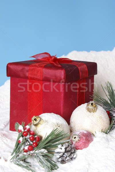 Snowy Christmas Pines Baubles and Gift Box Stock photo © AlphaBaby