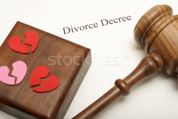 Rozwód kart młotek podziale serca górę Zdjęcia stock © AlphaBaby