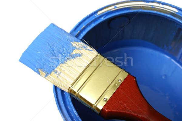 Schilderij penseel kan kleur Blauw tool Stockfoto © AlphaBaby