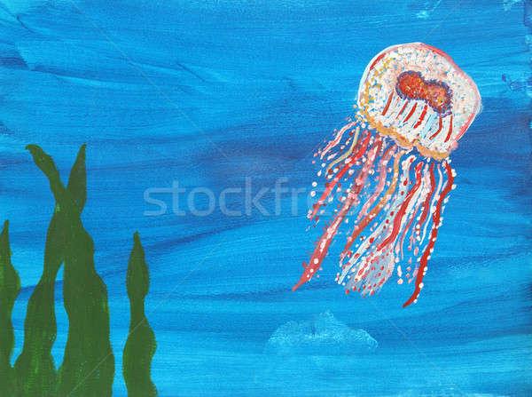 Denizanası Boyama Canlı Yüzme Su Doğa Stok Fotoğraf