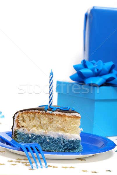 Festa de aniversário cena fora fatia bolo feliz Foto stock © AlphaBaby