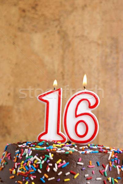 Doce dezesseis número vela anos valor Foto stock © AlphaBaby